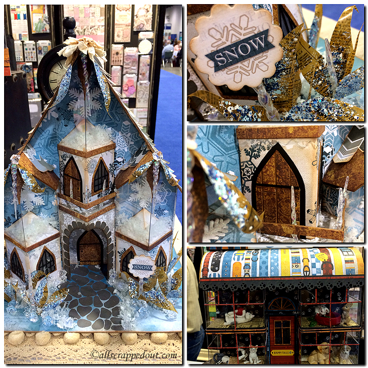 Bo Bunny's booth features two beautiful projects -- a Winter Fairy House and a the Happy Tails Pet Shoppe, both created by Laura Denison of Following the Paper Trail.