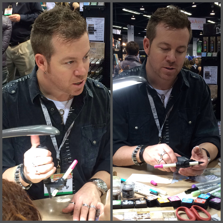 Tim Holtz demonstrating his new spritzer.